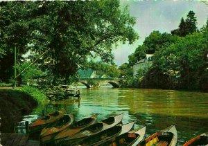 Belgium Anseremme Promenade River Bridge Boats Postcard