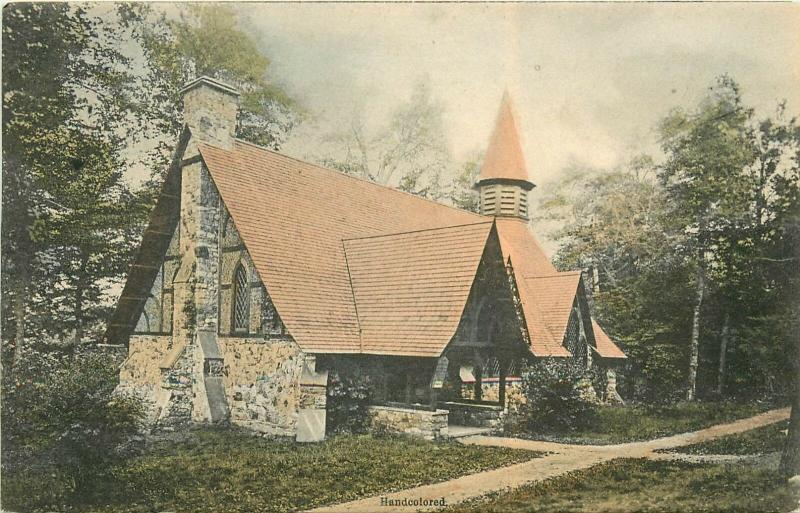 Union Chapel In Twilight Park, Haines Falls, Catskill Mts. Handcolored Postcard