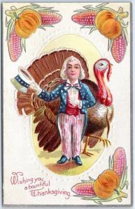 Vintage THANKSGIVING Embossed Postcard Lil' Uncle Sam w/ Turkey c1910s UNUSED