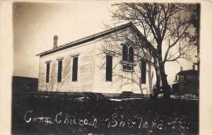 Shirland-Winnebago County Illinois~Congregational Church~House Bkgd~1907 RPPC