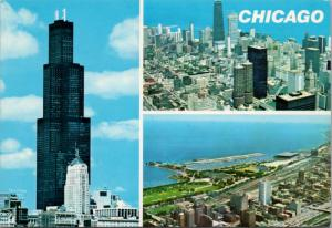 Chicago IL Illinois From Sears Tower Multiview Unused Vintage Postcard D53