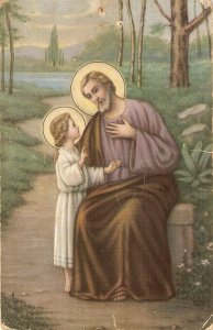 St. Joseph with Infant Jesus Nice old vintage antique Spanish religious postca