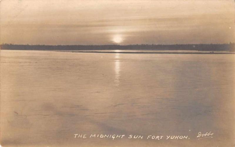 Fort Yukon Alaska Midnight Sun Scenic View Real Photo Antique Postcard J46287
