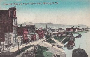 WHEELING, West Virginia, 1900-10s; Panoramic Birds Eye View of River Front