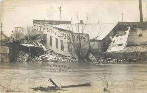 Owasso MI City Steam Laundry by Brewery~Cyclone Destroyed @ 11PM 11-11-11 RPPC