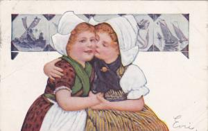 Dutch Girls in Traditional Dress Embracing, 1908