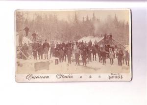 5 X 8 Vintage Photo Many Men in Winter Logging Camp, Cabin, American Studio, ...