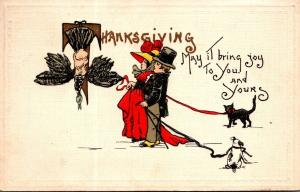 Thanksgiving With Turkey and Young Couple 1912