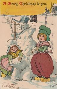 Snowman Christmas Greetings Dutch Children and Snowbear a/s St. George pm 1910