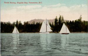 Vancouver BC Yacht Racing English Bay Sailboats Boating Sailing Postcard G36