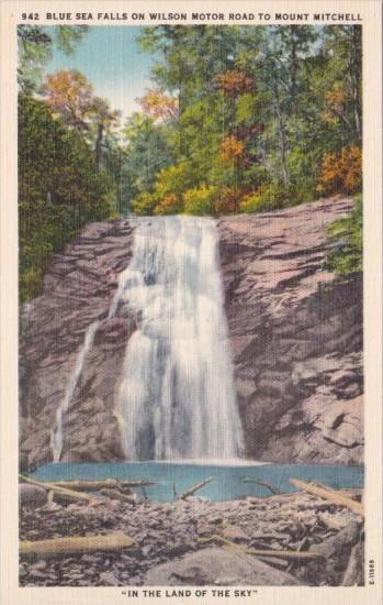 North Carolina Blue Sea Falls On Wilson Motor Road To Mount Mitchell