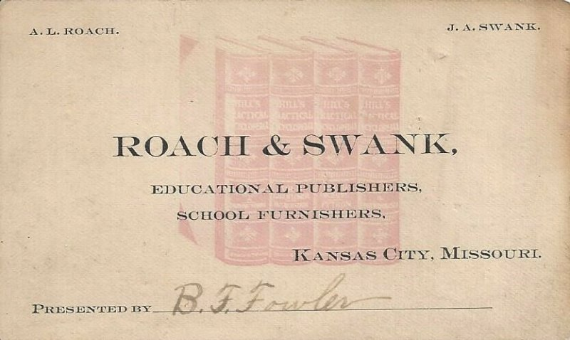 ROACH & SWANK Educational Publishers and School Furnishers Vintage Business Card