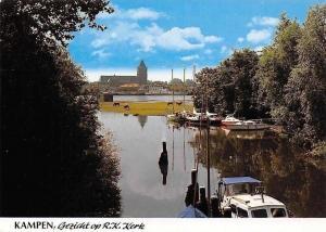Netherlands Kampen Gezicht op R.K Kerk Church River Boats Bateaux