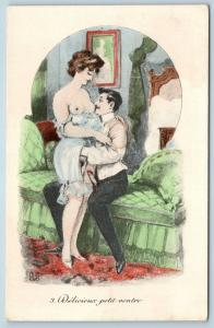 Postcard French Risque Man Woman Nude Cartoon Delicious Little Belly Q16