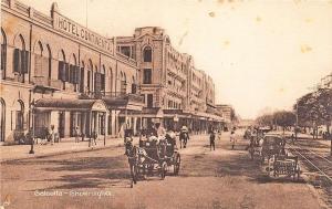 Calcutta Ghowringhee Store Fronts Trolley Tracks Raphael Tuck Postcard