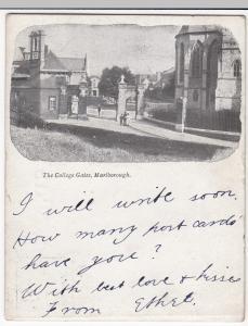 Wiltshire; Marlborough, The College Gates, Court Size PPC, 1903 PMK