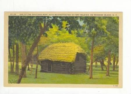 One Of The Thatched Roof Huts Reconstructed In Fort Raleigh, On Roanoke Islan...