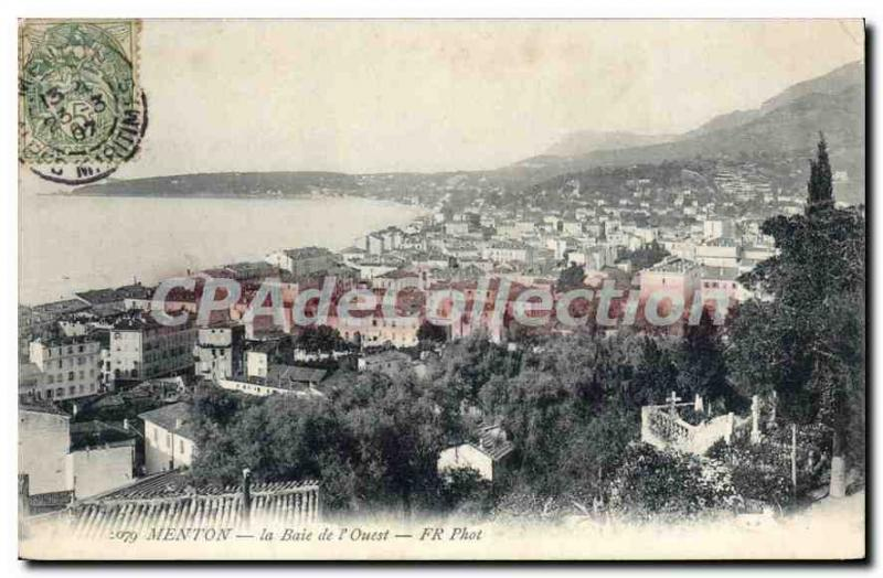 Old Postcard Menton The Bay Of I'Ouest