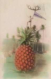 RP: Man on Giant Pineapple , HONOLULU Flag ,  Hawaii , 1911