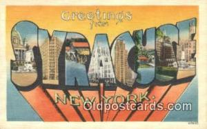 Syracuse, NY, USA Large Letter Town Postcard Post Card Old Vintage Antique  S...