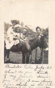 H52/ Boulder Colorado RPPC Postcard c1910 Kids Woman Pony Beautiful 43