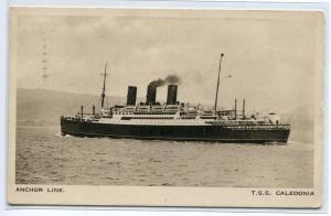 TSS Caledonia Anchor Line Ocean Linen Ship postcard