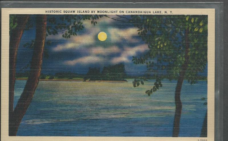 Squaw Island by Moonlight on Canandaigua Lake Post Card