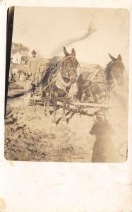 Real Photo Postcard~Farmer Stands Up~Reins in Hand~Horse Team~Barns~c1910 RPPC