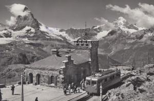 Swiss Zermatt Switzerland Railway Station Real Photo Postcard