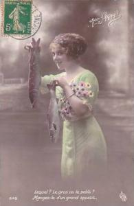 1er Avril April Fool's Day Beautiful Woman Holding Fish