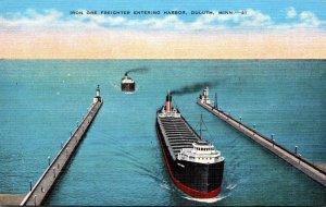 Minnesota Duluth Ore Freighter Entering Harbor