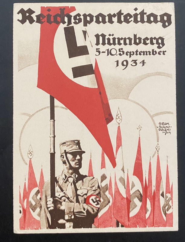 1934 Nurnberg Germany Propaganda Postcard cover NSDAP political Rally Thuringen