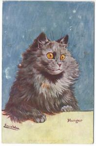 Louis Wain Ct Hunger Signed 1907 Colorful Postcard