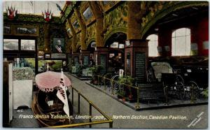 1908 Franco-British Exhibition Postcard London CANADIAN PAVILION Interior Unused