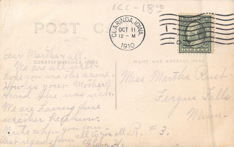 Clarinda Iowa~State Hospital for Insane~Lunatic Asylum~Male Cottage~1910 RPPC