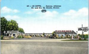 CONWAY, AR Arkansas   64-65  MOTEL   ESSO GAS  c1940s  Cars  Roadside   Postcard