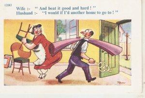 Wife:- And bit it good and hard... Humorous vintage English postcard