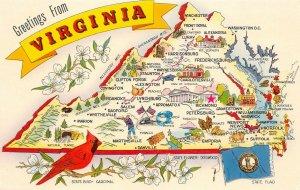 LPM43 Virginia Map Chrome Postcard Old Dominion
