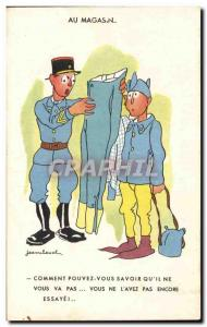 Old Postcard Militaria Illustrator At the store Jean Cheval