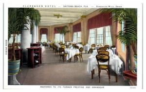 Clarendon Hotel Dining Room, Daytona Beach, FL Postcard