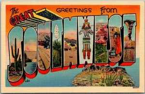 1940s Greetings from the GREAT SOUTHWEST Large Letter Postcard Indian Linen