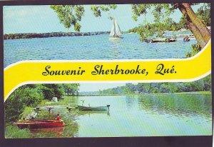 P1394 unused color photo boy fishing cane pole etc souvenir sherbrooke quebec