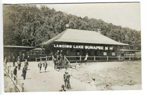 Sunapee NH Railroad Station Train Depot Lake Landing RPPC Real Photo Postcard