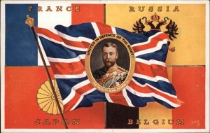 WWI Allied Flags France Russian Japan Belgium King George TUCK Postcard