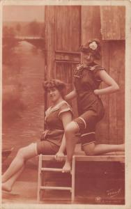Bathing Beauties by Wooden Beach Cabana~Ladder~1907 Real Photo Postcard~RPPC