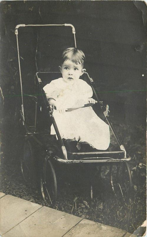 Real Photo Postcard~Wide-Eyed Baby Gay Carnes In Vintage Stroller~1910 RPPC