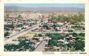 Birdseye 1950s Tijuana Mexico Baja California Hecha postcard 10763