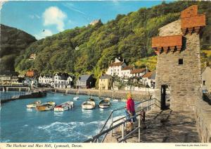 B87086 the harbour and mars hill lynmouth devon boat   uk