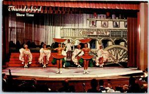 Las Vegas, Nevada Postcard THUNDERBIRD HOTEL Show Time Showgirls on Stage 1962