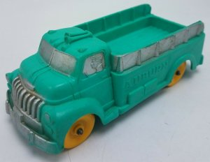 Vintage Auburn Rubber Co 5 1/2 Toy Truck Green w Yellow Wheels
